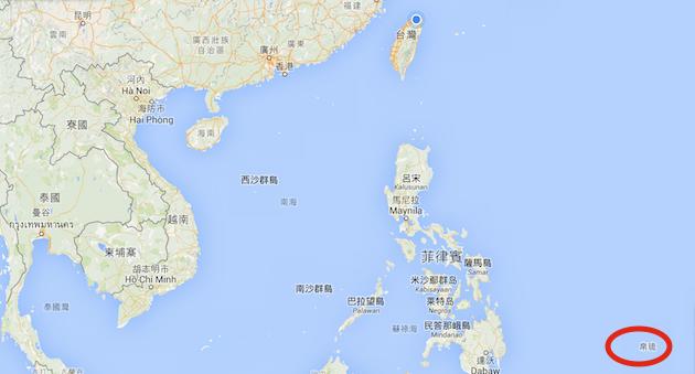 帛琉(紅圈處)位置圖。(Google地圖)