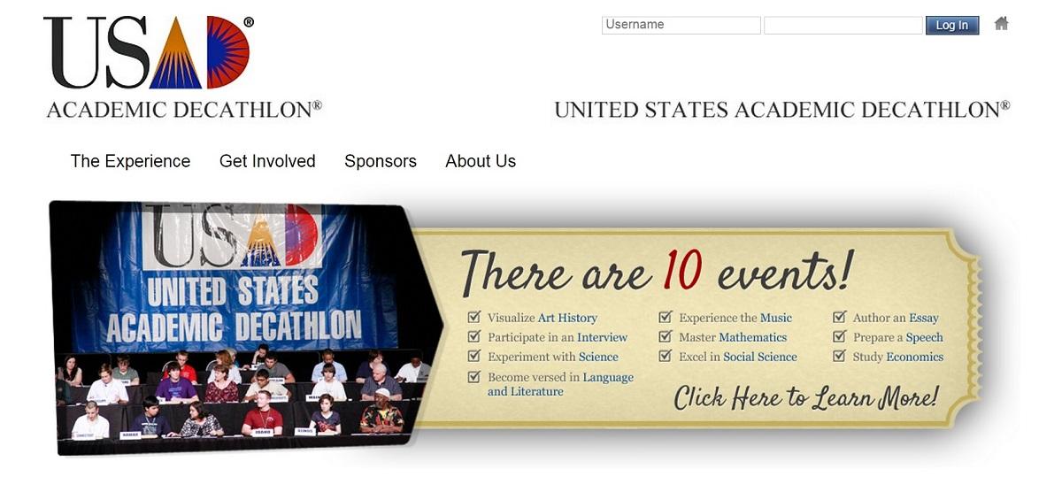 美國高中學力競賽 Academic Decathlon 官網截圖