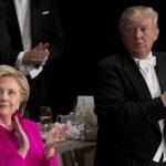 2016美國總統大選》川普與希拉蕊參加慈善晚宴 選前最後一次同台狂酸對方【圖輯】