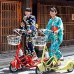 穿和服也能騎車逛岐阜大街 站著跑的電動三輪車開放出租