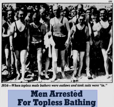 為了爭取上空權利,美國男性1930年代發起多次公民不服從運動抗爭。Google News 新聞資料庫:https://goo.gl/nTkqRK