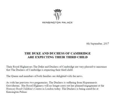 肯辛頓宮宣布,劍橋公爵夫人凱特懷了第三胎(取自Kensington Palace推特)
