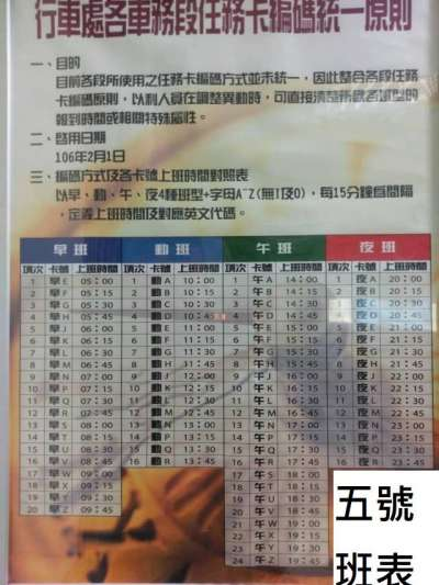 林佳瑋13日在臉書公布某企業員工的輪班制班表,圖為五號班表。(取自林佳瑋臉書粉絲專頁)