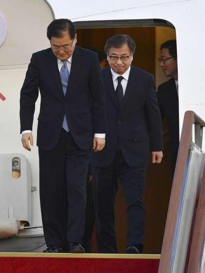 南韓總統特使團6日返回首爾。(美聯社)