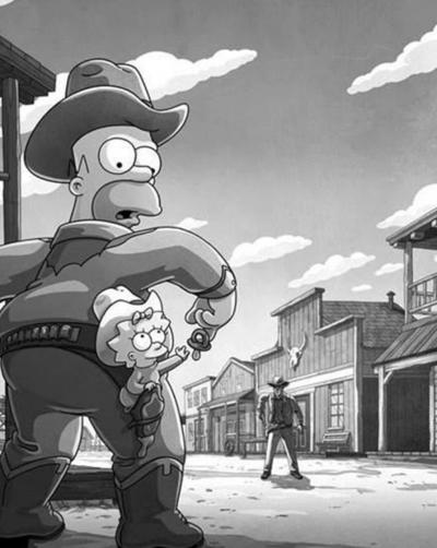 第636集《辛普森一家》以小女兒瑪吉·辛普森拔槍射擊《荒野鏢客》男主角馬特·狄龍警長的橋段,來慶祝自己成為美國電視史上的最長壽作品。(圖/澎湃新聞提供)