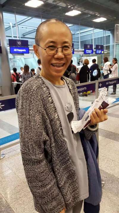 劉霞。據稱這張照片攝於北京機場。(翻攝網路)