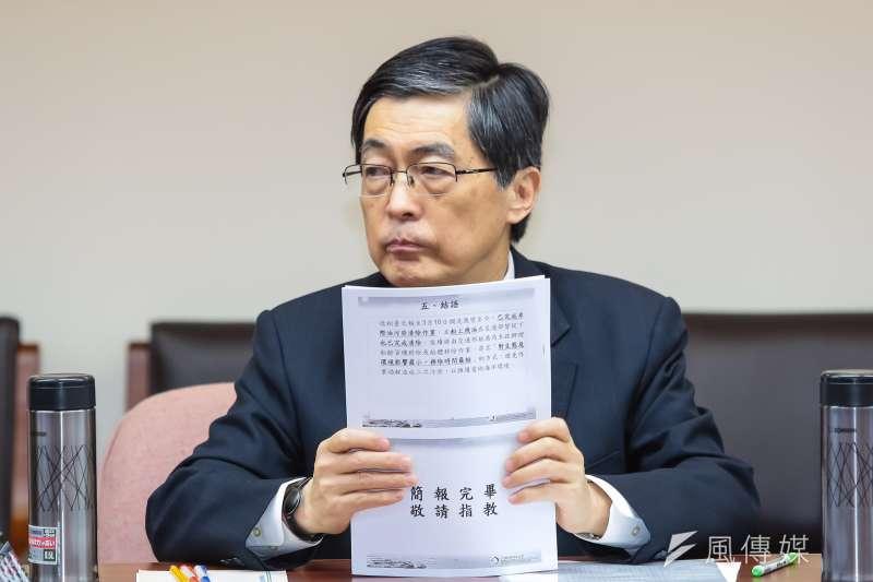 環保署長魏國彥11日出席衛環委員會備詢。(顏麟宇攝)