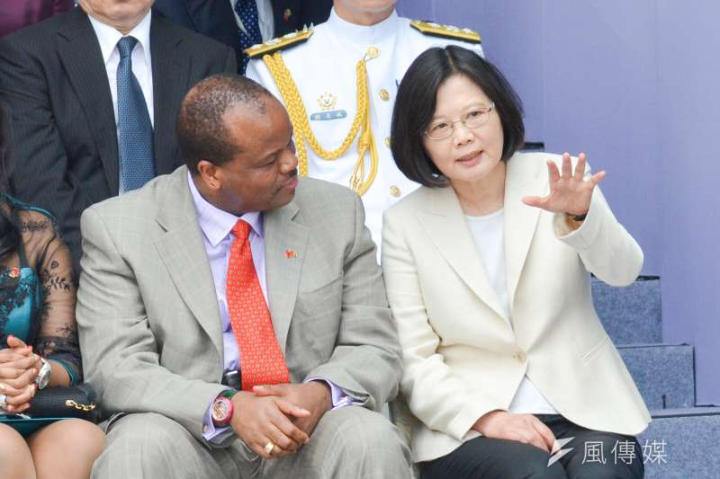 蔡英文總統將於本周出訪史瓦濟蘭。圖為史瓦濟蘭國王出席蔡總統就職典禮。(陳明仁攝)