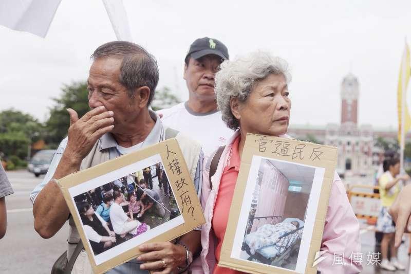 民團凱道抗議土地徵收反迫遷,圖為高雄果菜市場自救會會長吳富雄。(曾原信攝)