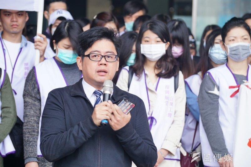 20170106-復興航空工會於台北市政府前,召開第五次勞資協商會前記者會。(盧逸峰攝)