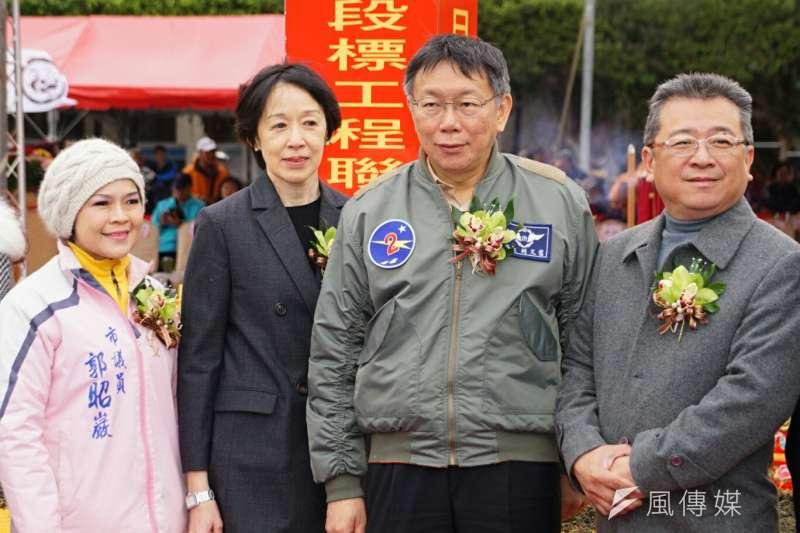 20170212-大陸工程公司董事長、台北市長柯文哲出席捷運萬大線開工典禮。(盧逸峰攝)