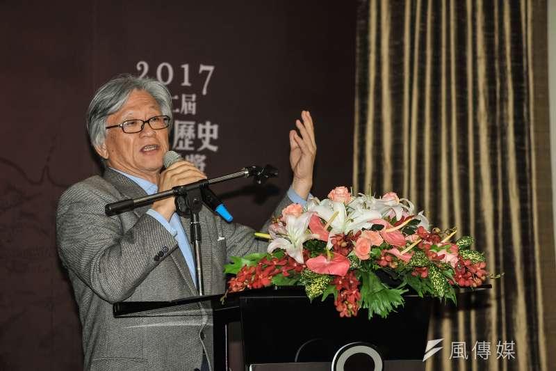 20170319-新台灣和平基金會「第二屆台灣歷史小說獎頒獎典禮」,詩人李敏勇致詞。(甘岱民攝)
