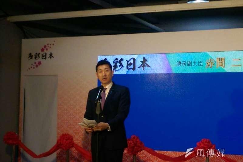 日本總務副大臣赤間二郎來台推觀光,望未來台日雙方旅客來往量能再增加,突破800萬人次。(黃麒珈攝)