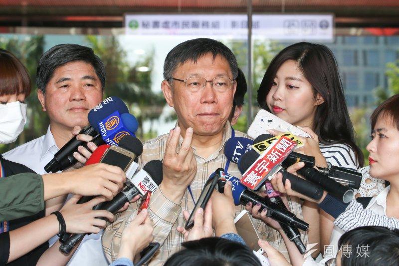 台北市長柯文哲「去蔣化」言論爭議不斷,他6日強調當初只是在質疑中央搞「去蔣化」沒解決台灣問題,卻被貼標籤,實在受不了。(資料照,陳明仁攝)