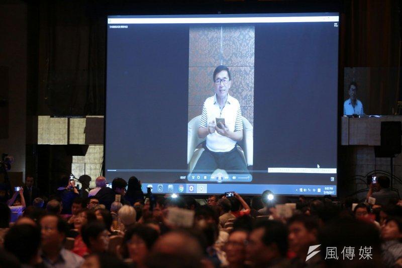 前總統陳水扁出席凱達格蘭基金會餐會,預先錄好要講的話,於會場播放,避免違反中監的「五不」規定。(顏麟宇攝)