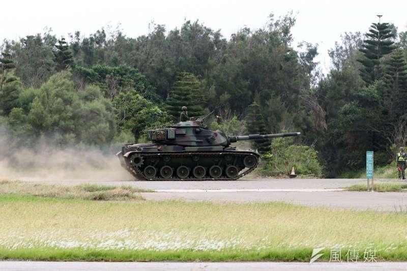 20170525-陸軍M60A3戰車,上午在澎湖參與漢光33號演習實兵演練。(蘇仲泓攝)