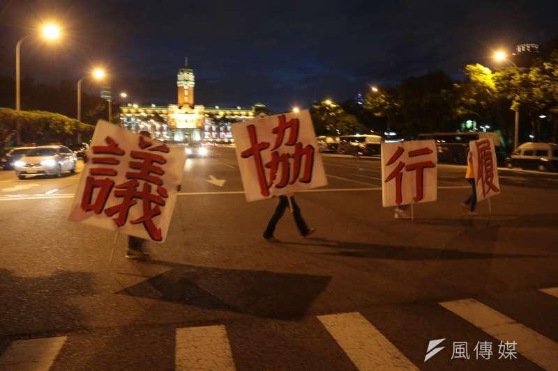 國道收費員自救會凱道抗議。(顏麟宇攝)