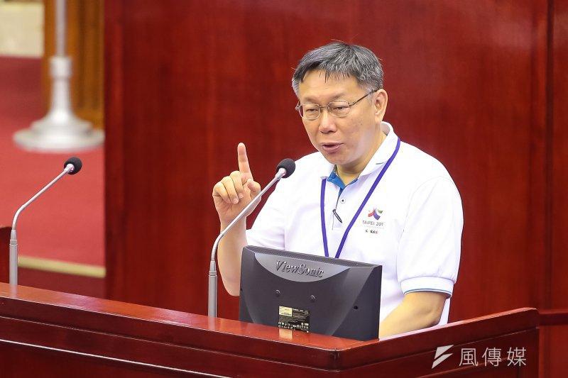 柯文哲將於7月1日下午動身前往上海,參訪市政,2日上午出席「台北-上海城市論壇」。(資料照,顏麟宇攝)