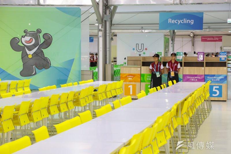 20170812-世大運選手村12日舉行開村儀式,選手村餐廳內用餐區及清潔回收區。(顏麟宇攝)