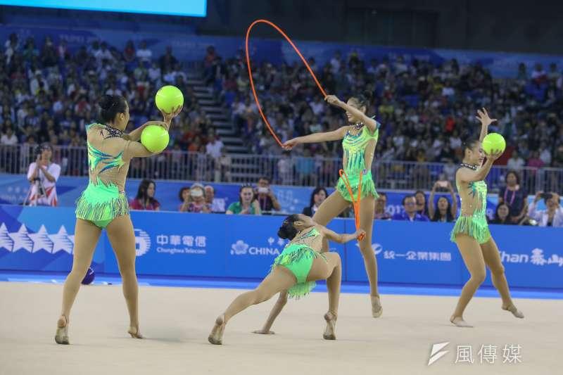 中華女子韻律體操團體單項「3球2繩」決賽奪銀。(陳明仁攝)