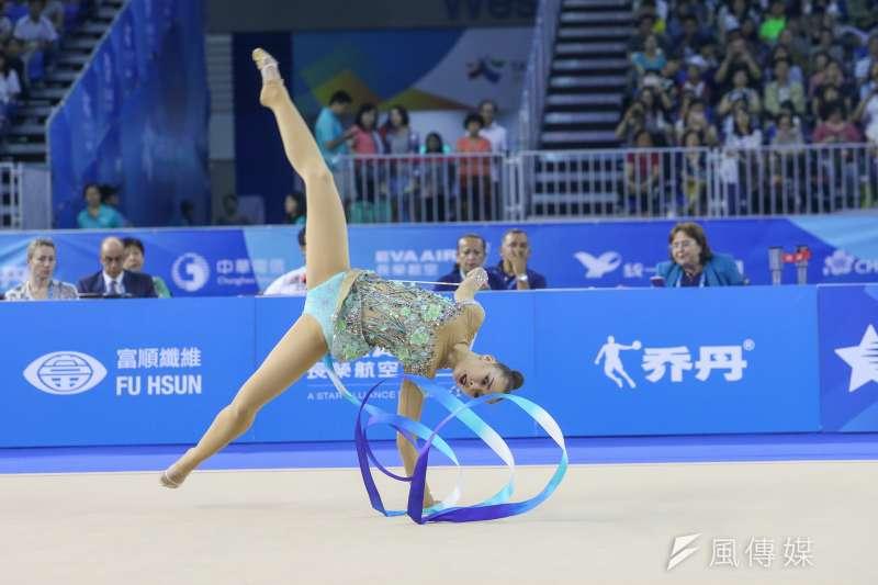 KAZ哈薩克選手參與20170829-圖集-韻律體操-棒及帶勁與美的競技。(陳明仁攝)