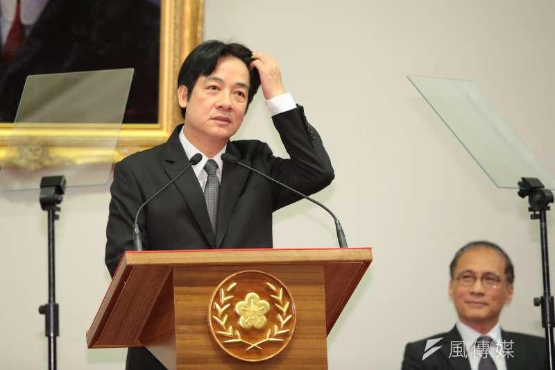 台南市長賴清德5日出席總統府新任行政院長公佈記者會。(顏麟宇攝)