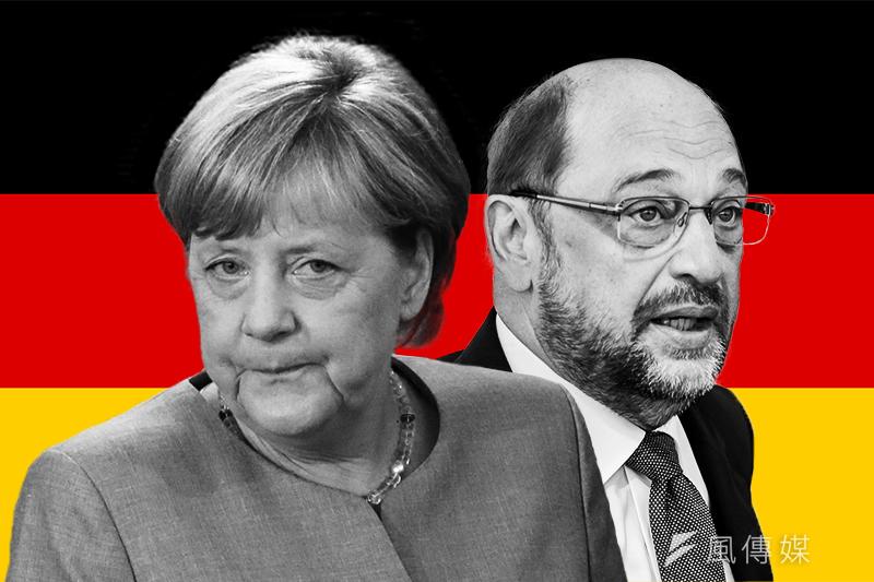 德國大選:梅克爾與舒爾茨競爭總理大位(風傳媒製圖)