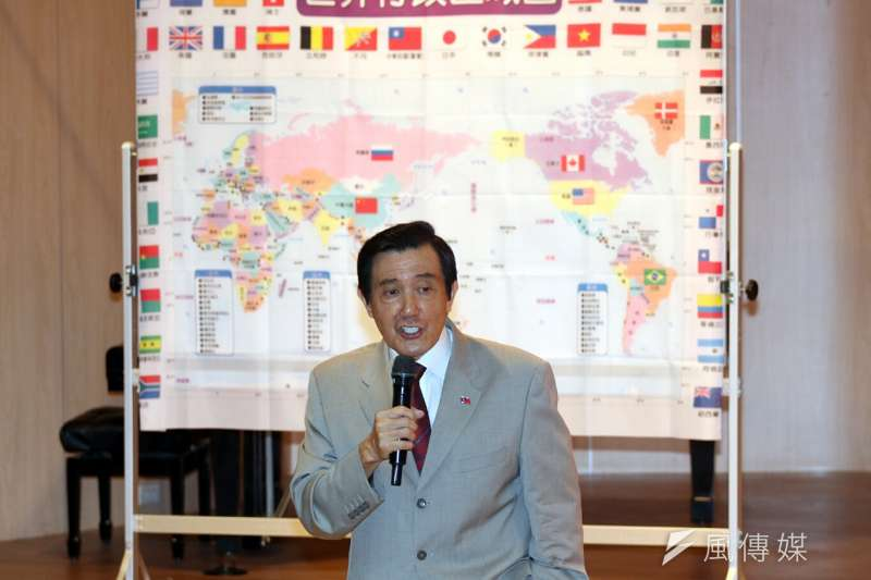 前總統馬英九今天下午到新北市裕德雙語學校演講,有學生問「對台灣加入聯合國有什麼看法?」馬英九表示,即使不加入聯合國也沒那麼大的關係。(蘇仲泓攝)