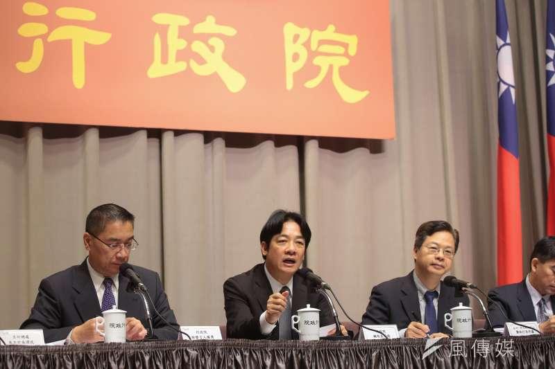 行政院長賴清德14日出席行政院會會後記者會。(顏麟宇攝)