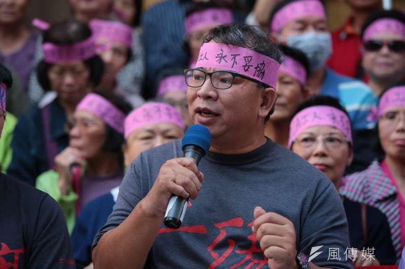 20171027-工傷協會理事長楊國禎27日出席「再度勝訴!讓二審判決成果,繼續翻轉藍綠共謀19年的政商結構」記者會。(顏麟宇攝)