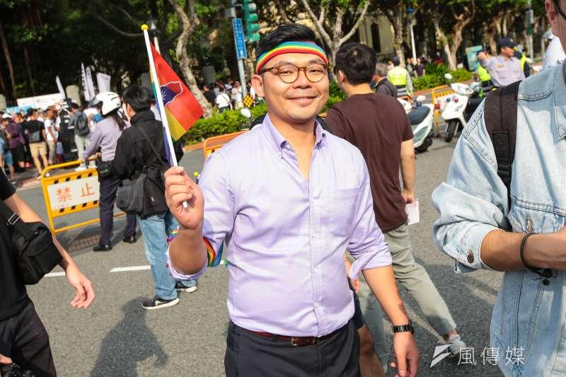 國民黨立委許毓仁表態參選新竹市長,圖為許毓仁參與2017台灣同志遊行。(顏麟宇攝)