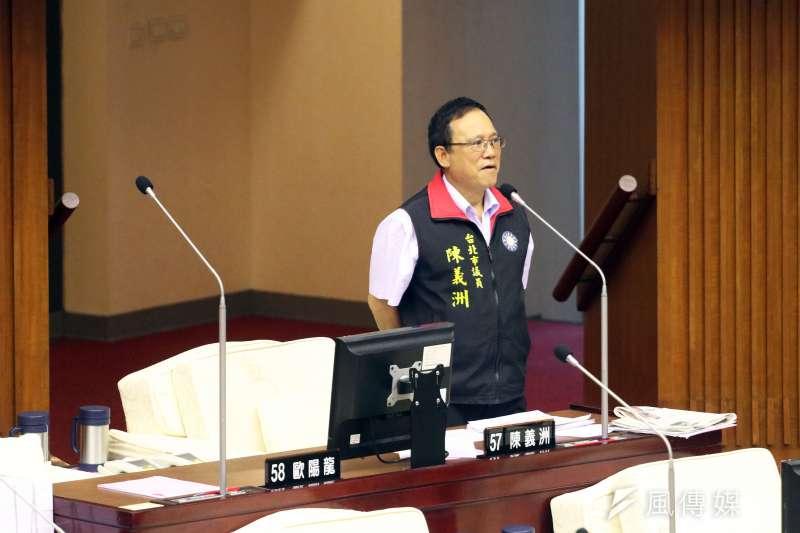 20171107-台北市議會下午舉行市政總質詢,圖為市議員陳義洲。(蘇仲泓攝)