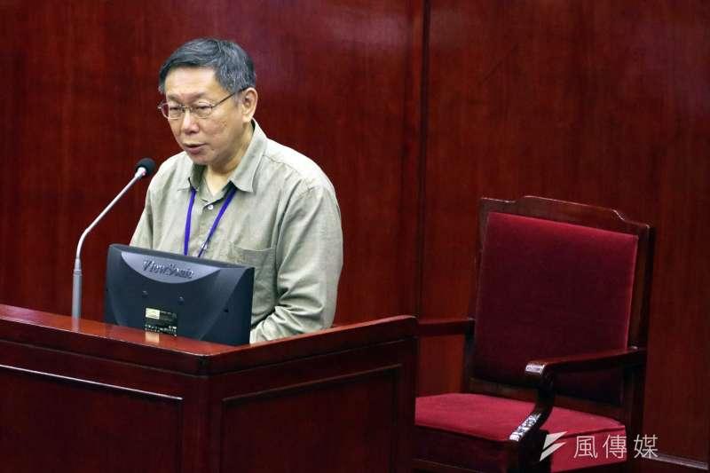 20171114-台北市議會下午進行市政總質詢及答覆。圖為台北市長柯文哲。(蘇仲泓攝)
