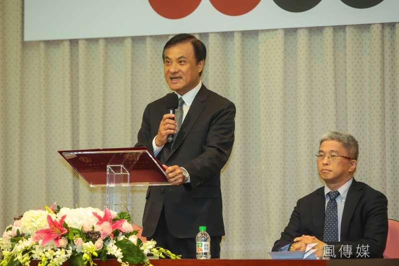 台灣民主基金會董事長、立法院長蘇嘉全15日上午,公佈2017年亞洲民主人權獎得獎者。(顏麟宇攝)