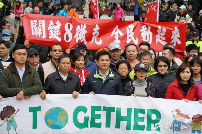 反空污大遊行17日於台中登場。圖為台中市長林佳龍出席。(盧逸峰攝)