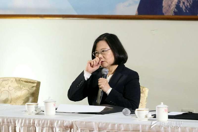 總統府29日下午在中科院龍園園區舉辦年終記者會。圖為總統蔡英文。(蘇仲泓攝)