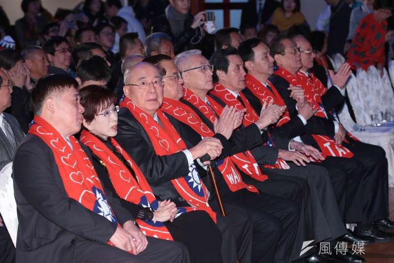 國民黨主席吳敦義、前主席馬英九、朱立倫、洪秀柱、連戰、吳伯雄等13日出席「經國先生逝世30週年紀念大會」。(顏麟宇攝)