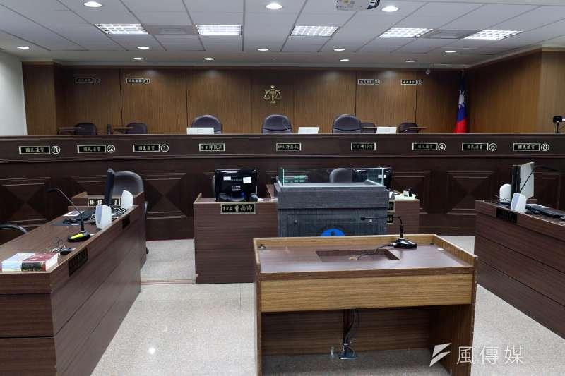 20180129-台北地方法院上午舉辦「國民參與刑事案件模擬法庭」活動,圖為台北地院第七法庭一景。(蘇仲泓攝)