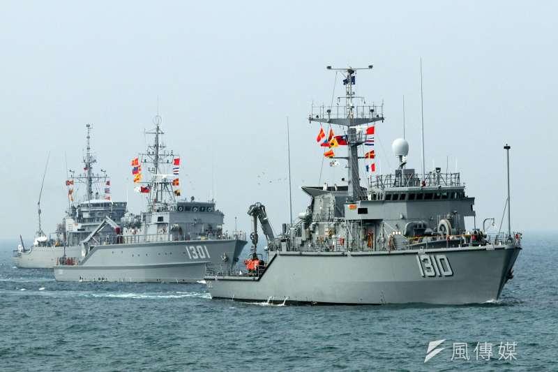 20180131-107年國軍春節加強戰備媒體邀訪活動,第三戰來到海軍左營軍港,實地觀看海軍進行布雷、獵雷的各項操演。圖為海軍獵雷艦。(蘇仲泓攝)