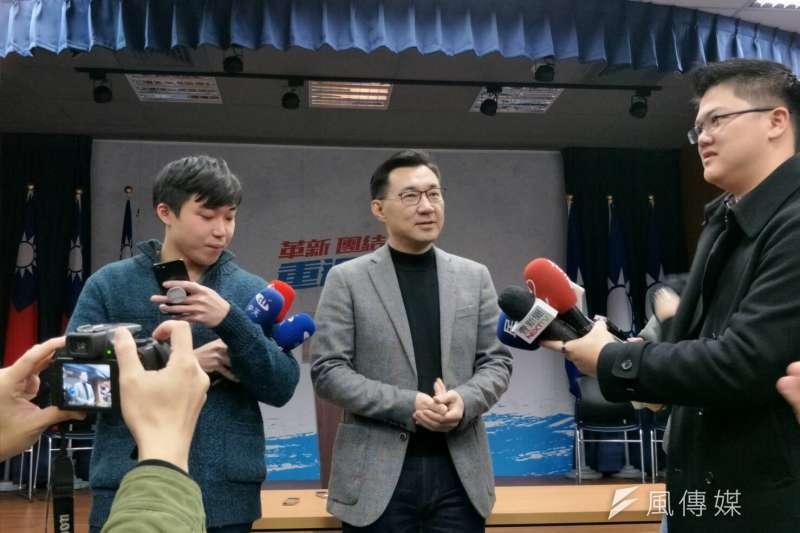 國民黨9日上午公布台中市長協調結果,由現任立委盧秀燕以50.308%的支持度,勝過立委江啟臣49.692%。(周怡孜攝)