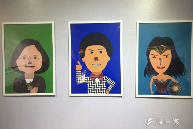 以色列插畫家皮芬的作品:由左而右為台灣總統蔡英文、已故台灣綜藝天王豬哥亮、神力女超人(簡恒宇攝)