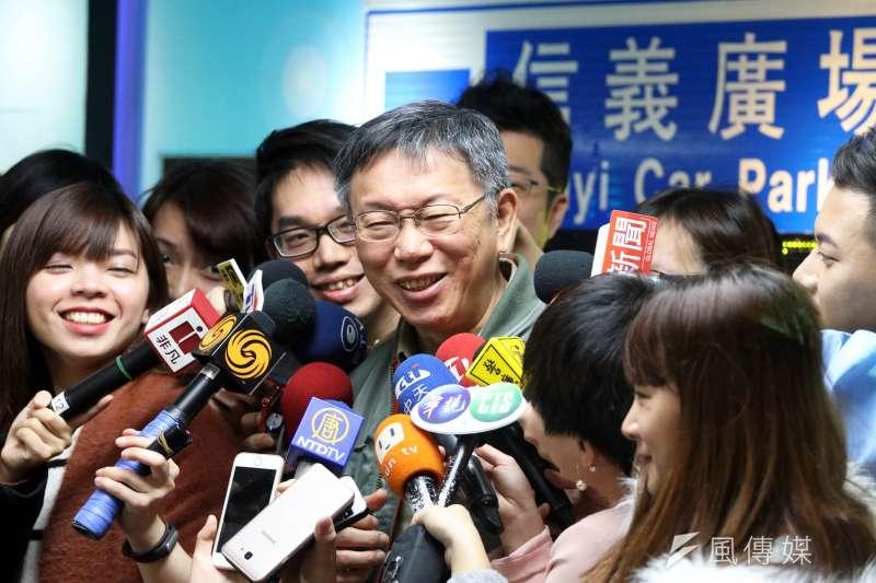 媒體追問台北市長柯文哲有沒有聽說民進黨台北市長要推「黑馬」?柯文哲反問,「為什麼告訴你?」(蘇仲泓攝)