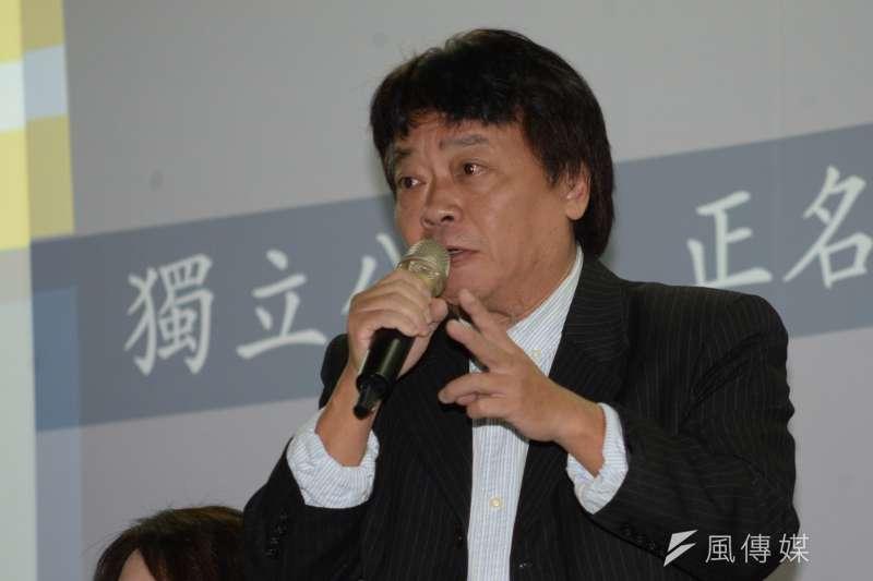 20180228-喜樂島聯盟籌組記者會,台灣團結聯盟黨主席劉一德出席記者會致詞。(甘岱民攝)