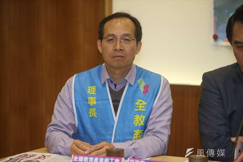 全教產工會理事長黃耀南出席全教產主辦「科科要等值,技職不應被歧視」記者會。(陳明仁攝)