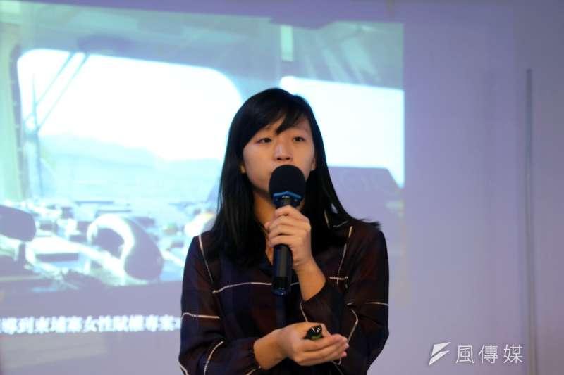 獨立撰稿人陳映妤6日出席「逐浪世代」講座,分享自己在國外工作及獨立採訪的經歷。(楊舒晴攝)