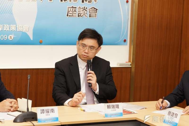 20180309-2018中國兩會後座談會,民進黨立委賴瑞隆發言。(盧逸峰攝)