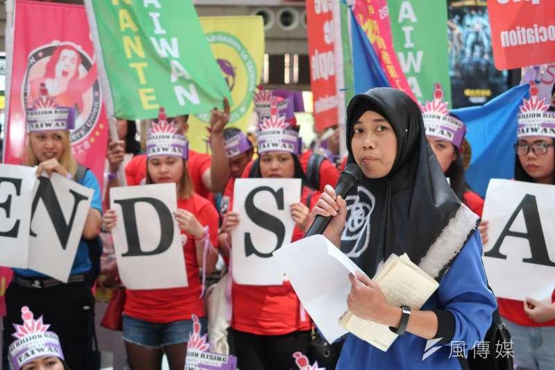 20180311- 「OBR反抗女性剝削」活動,印尼工人團結聯盟副主席Annie致詞。(朱冠諭攝)
