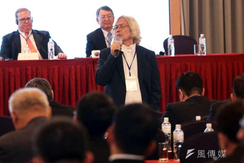日前台美國防產業論壇舉行,作者認為,一堆統派的親PRC團體又在反對這場論壇,「這群人可以不要用意識形態犧牲台灣的經濟嗎?」圖為台方代表造船公會理事長韓碧祥。(蘇仲泓攝)