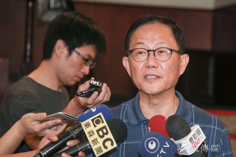 國民黨台北市長參選人丁守中回應民進黨台北市將提名自己人問題。(資料照片,陳明仁攝)