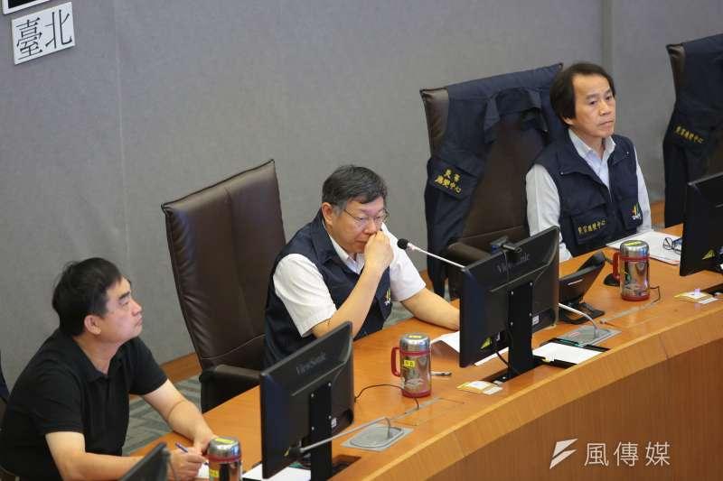 20180711-台北市長柯文哲11日出席瑪莉亞颱風災害防救會報。(顏麟宇攝)